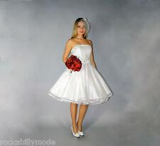 Punktetüll Brautkleid knielang Hochzeitskleid 50er ivory creme beige kurz 50s