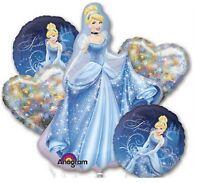 Disney Princess Cinderella Happy Birthday Party Favor 5CT Foil Balloon Bouquet