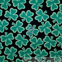 BonEful Fabric FQ Cotton Quilt Black Green Irish Shamrock Clover Leaf Lucky Girl