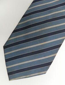 "Blue Striped Silk Self Tipped Tie 3.9"" Wide 58"" Long"