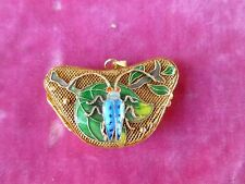 VINTAGE CHINESE STERLING SILVER WIRE AND ENAMEL PILL BOX LOCKET