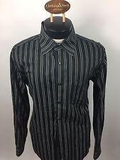 7 Diamonds Mens Dress Shirt Long Sleeve X-Large Cotton Black Front Pocket