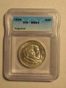 1924 - ICG MS64 Huguenot Commemorative Half Dollar.