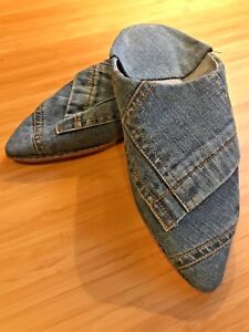Moroccan Women Jeans Shoes Handmade Blue Flat Slippers Genuine 💯% (size 6)