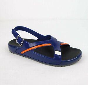 Prada Men's Blue Orange Colorblock Rubber Sandal w/Heel Strap UK 7/US 8 4X3092