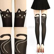 Vogue Women Cat Tail Tattoo Velvet Knee High School Long Socks Tights Stockings