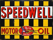 """TIN SIGN """"Speedwell"""" Gas Oil  Signs  Rustic Wall Decor"""