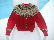 Vintage Scandinavian Red Sweater Womens Cardigan Wool Handknit Norwegian,Sz. S