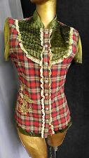 Boho SUGAR LIPS Vintage Plaid Blouse Embroidered Studded Top 100% Cotton Sz L