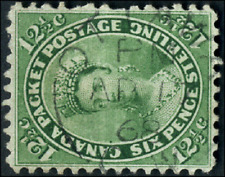 Canada #18 used VF 1859 First Cents 12 1/2c yellow green Queen Victoria CDS