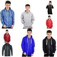 Mens Plain Colour Zip Up Hoodie Casual Fleece Sweatshirt Hooded Hoody Top S-5XL