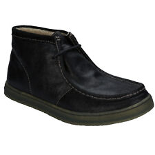 MENS HUSH PUPPIES AQUAICE WALLABOOT LEATHER FUR LINED BOOTS - UK SIZE 10 - BLACK