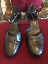 JANE DEBSTER BLACK LEATHER STILETTO SHOES SIZE 39