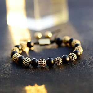 Men Luxury Micro Pave Gold Balls Black Matte Onyx Braiding Adjust Bracelets Gift