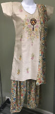 NEW 3 Pc COTTON CREPE SALWAR KAMEEZ PATIALA STYLE EMBROIDERED SARI BELLY DANCE