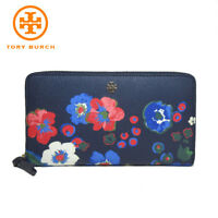 Tory Burch pansy blue leather continental wallet floral flower zip around New