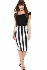 Below Knee Polyester Machine Washable Striped Skirts for Women