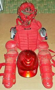 Complete Rawlings Youth Size Catcher Protective Gear Baseball RED Intermediate