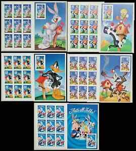 Five Different  LOONEY TUNES Stamps Bugs Bunny Booklet Sheets Complete Set