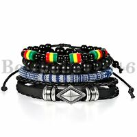 Handmade Tribal Leather Beaded Cuff Wristband 4pcs Set Bracelets for Men Women