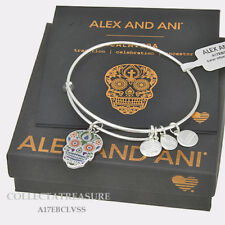 Authentic Alex and Ani Color Infusion, Calavera Expandable Shiny Silver Bangle