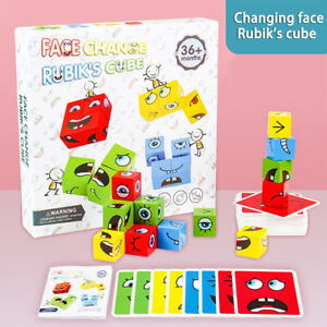 Building Block Face Changing Thinking Training Wooden Education Cartoon Toys_yk