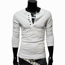 Mens Slim Fit V Neck Long Sleeve Cotton T-Shirt with 5 Button Up Open Henley Top