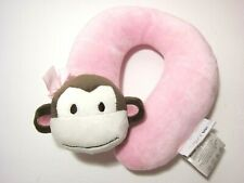 Plush Monkey Pink Neck Pillow Rest Support Head Car Stroller Cozy Baby