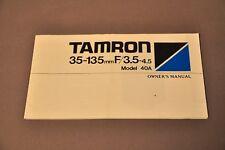 Tamron 35~135mm F/3.5-4.5 Lens Manual, c1986