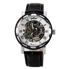 Winner Classic Men Black Leather Band White Dial Skeleton Mechanical Wrist Watch