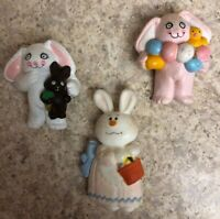 3 Resin Easter Bunny Pins Signed Unlimited Inc colorful