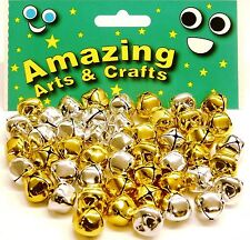 Jingle Bells, - 15mm GOLD AND SILVER 48pcs by Amazing Arts and Crafts