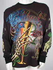 "Christian Audigier Shirt Thermal Rhinestone Celebrate Life Cheers, XL, Chest 49"""