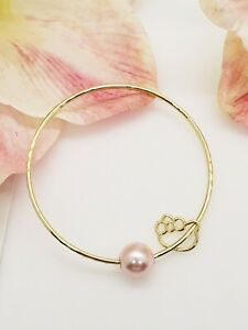 Pink Pearl Kitty Charm Bangle Bracelet