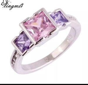 925 Sterling Silver Pink Opal Amethyst Multi Coloured Ring 9 Women's Birthstone