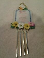 "Floral & Frosted Glass ""You Are A Blessing"" 10"" Friendship wind chime - Mint"