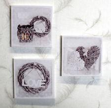 Wandbild-Set 3-tlg./Landhaus/Love/Muttertag, Valentinstag, grau/weiß 28x28x1,5cm