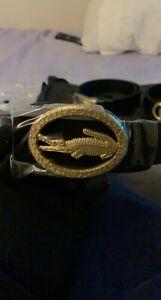 Lacoste Black/Gold Rare Custom Buckle Leather Men's Belt 120cm