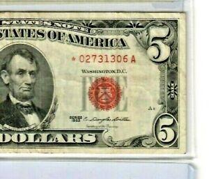 "$5 1963 ""STAR"" (02731306**) 1963 ""RED SEAL"" (CRISPY) $5 1963 ""STAR"" NICE!! STAR!"