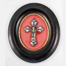 Rome Micromosaic Crucifix, Pope Pius XI, Antique Napoleon 3 Frame, Micro Mosaic