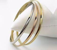 Damen Dreier Armreif Edelstahl Triple Tricolor Armband Silber Gold Rosegold vg.