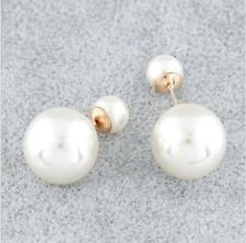 Big & Small Pearl Double Sides Classic Stud Earrings for Gilrs and Ldies Jewelry