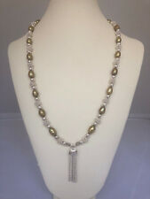 """Silver and Gold Plated Beaded Tassel Necklace. 24"""" with 2"""" Tassel."""