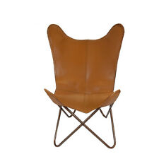 100% Genuine Leather Tan/Beigh Butterfly Chair RRP £ 350.00
