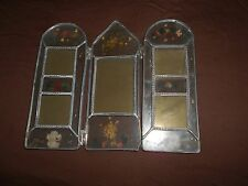 Picture frame tri-fold glass and metal with embedded flowers and clovers
