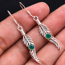 Green Onyx Gemstone 925 Sterling Silver Solid Feather wing Dangle Earring