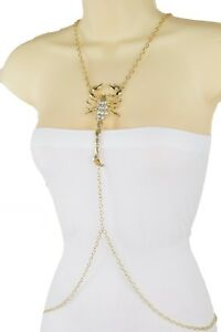 Women Necklace Gold Metal Body Scorpion Charm Long Chain Harness Bling Jewelry