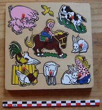 Puzzle en bois les animaux de la ferme, 7 pièces, en bon état,