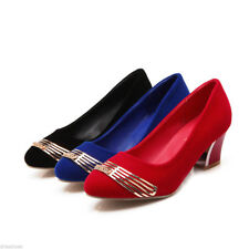 Women's Plus Size Block Heel Shoes Black/Blue/Red Velvet Round Toe Fashion Pumps