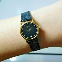 Vtg Raymond Weil Women's 18k Gold Electroplated Black Leather Wristwatch Swiss
